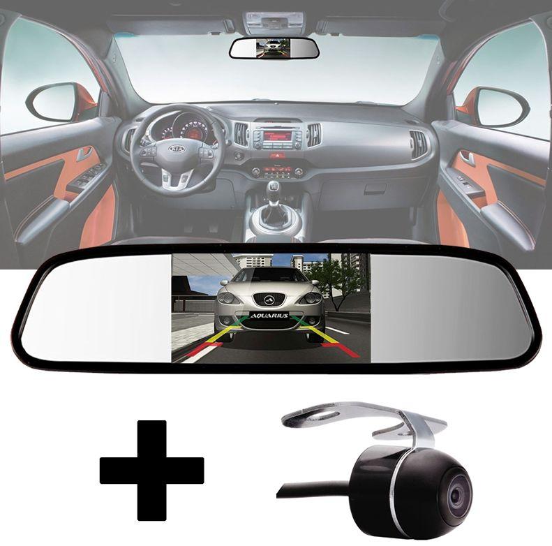 Kit Tela de Espelho Retrovisor Monitor  LCD 4.3 + Câmera Ré RENAULT CAPTUR
