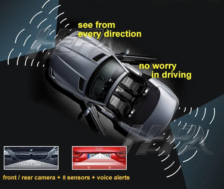 Sensor de Estacionamento Ré 8 Sensores - Sonoro FRONT / REAR - Com Display Slim - Visor em LED  - Preto / Prata / Branco