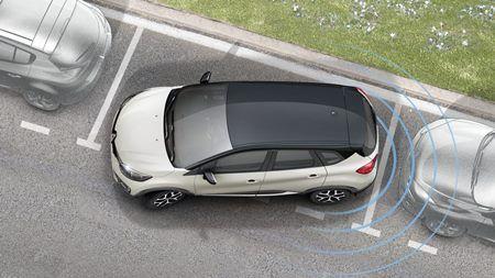 Sensor de Estacionamento Ré RENAULT CAPTUR  4 Sensores - Sonoro Com Display Slim - Visor em LED -PRETO FOSCO