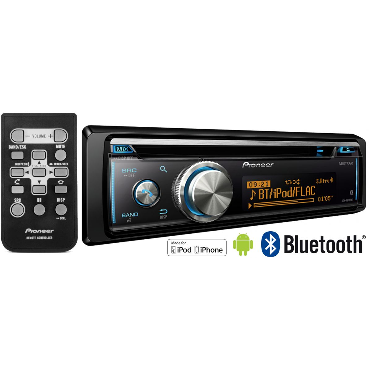 Som Automotivo CD Player Pioneer DEH-X8780BT Gráfico Bluetooth 3.0 Mixtrax Android - Entrada Auxiliar e USB