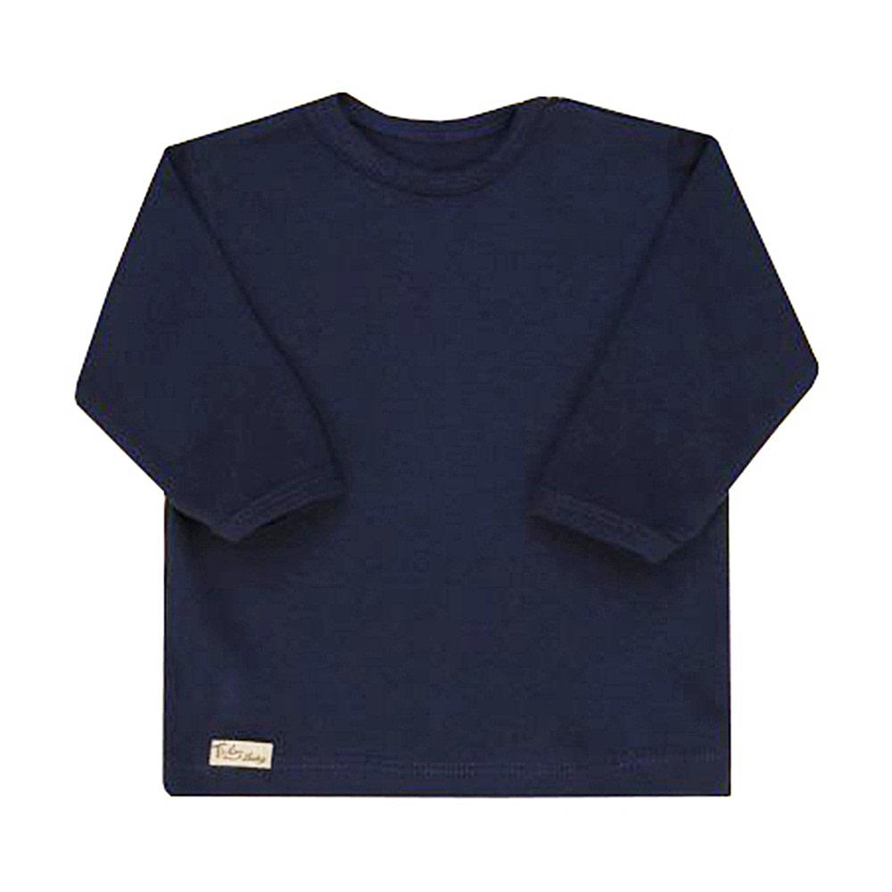 Camiseta Manga Longa Lisa Laços Floral Azul Marinho