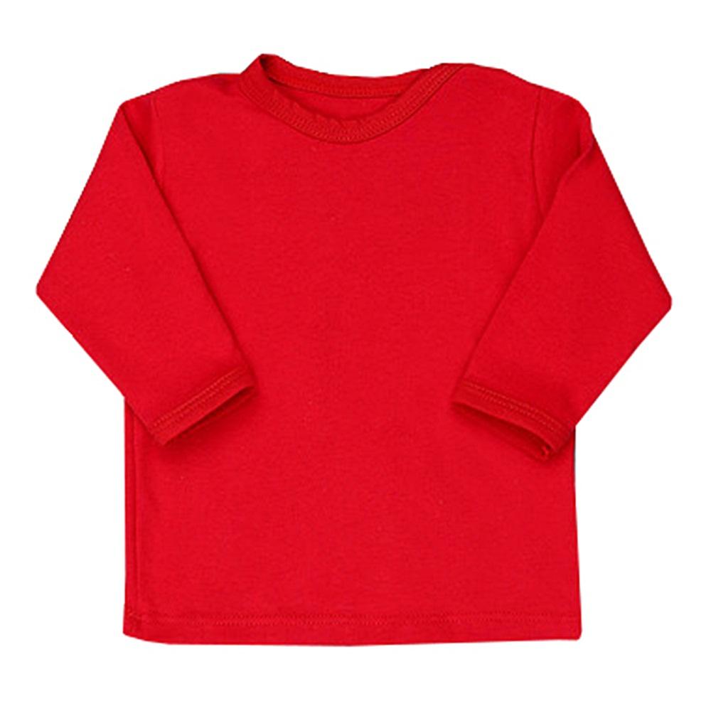 Camiseta Manga Longa Lisa Laços Floral Vermelho
