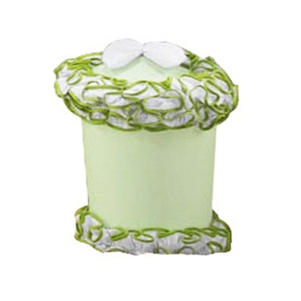 Lixeira PVC Tecido Verde Laço Branco com Babado