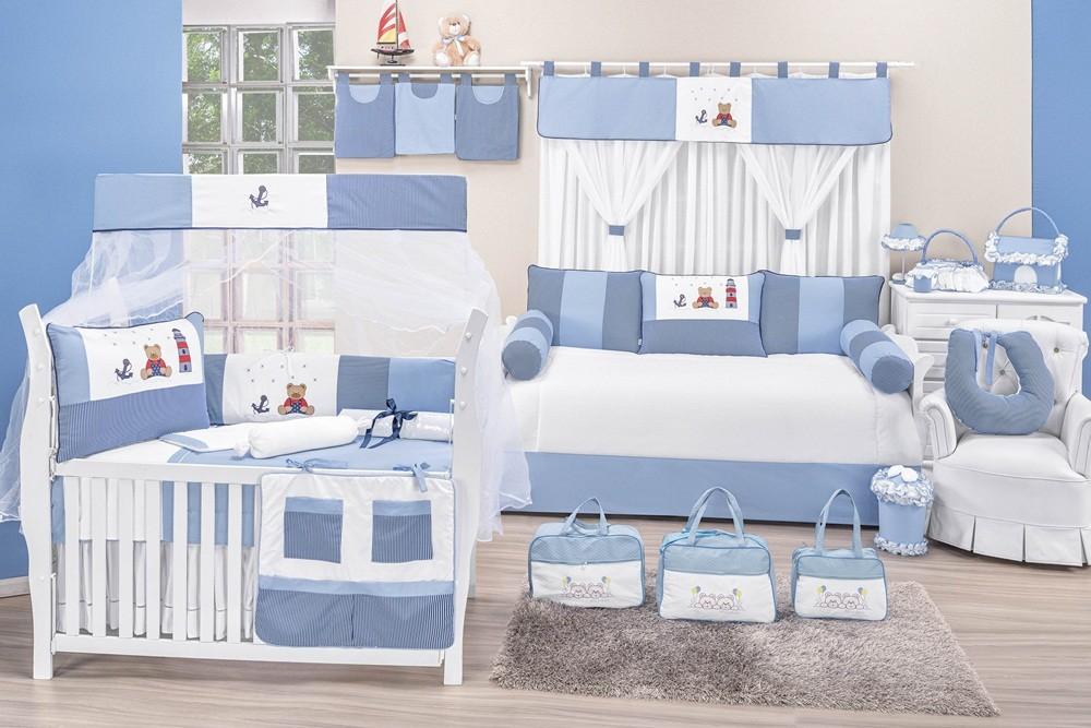 Quarto Completo 28 Peças com Cama Babá Azul e Branco Listrado Urso Âncora