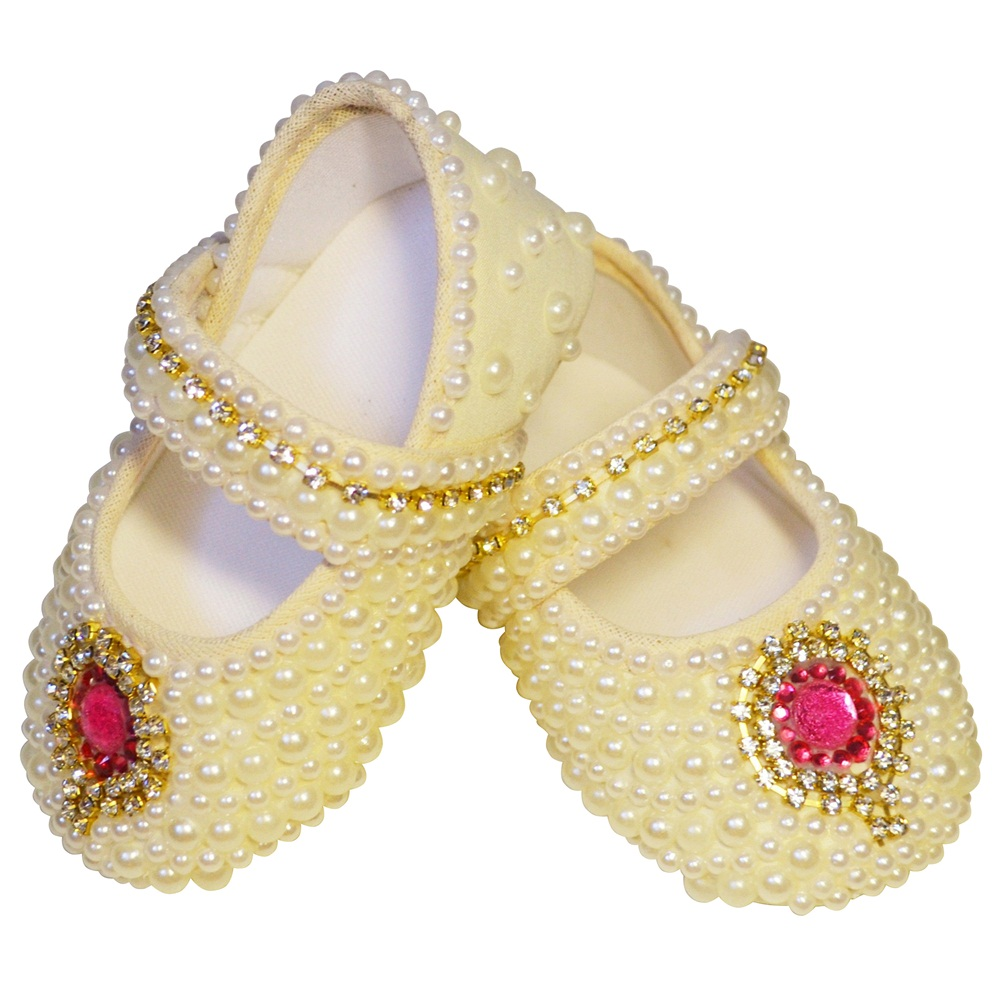 Sapato Pérolas Strass Pedra Vermelha