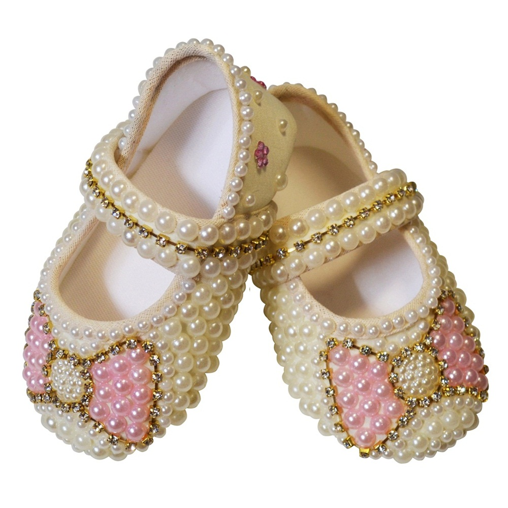 Sapato Pérolas Strass Laço Rosa