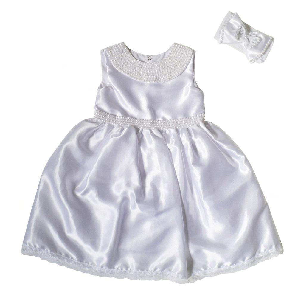 Vestido Regata Pérolas Cetim com Faixa