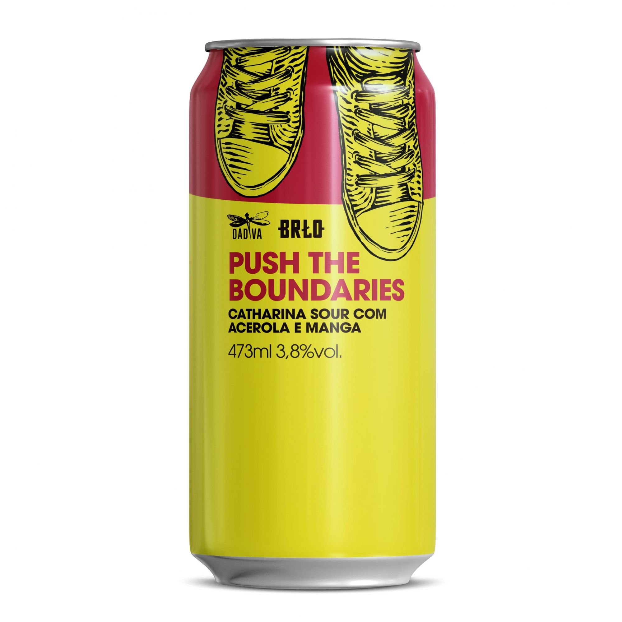 Dádiva e BRLO Push The Boundaries Catharina Sour com Acelora e Manga Lata 473ml