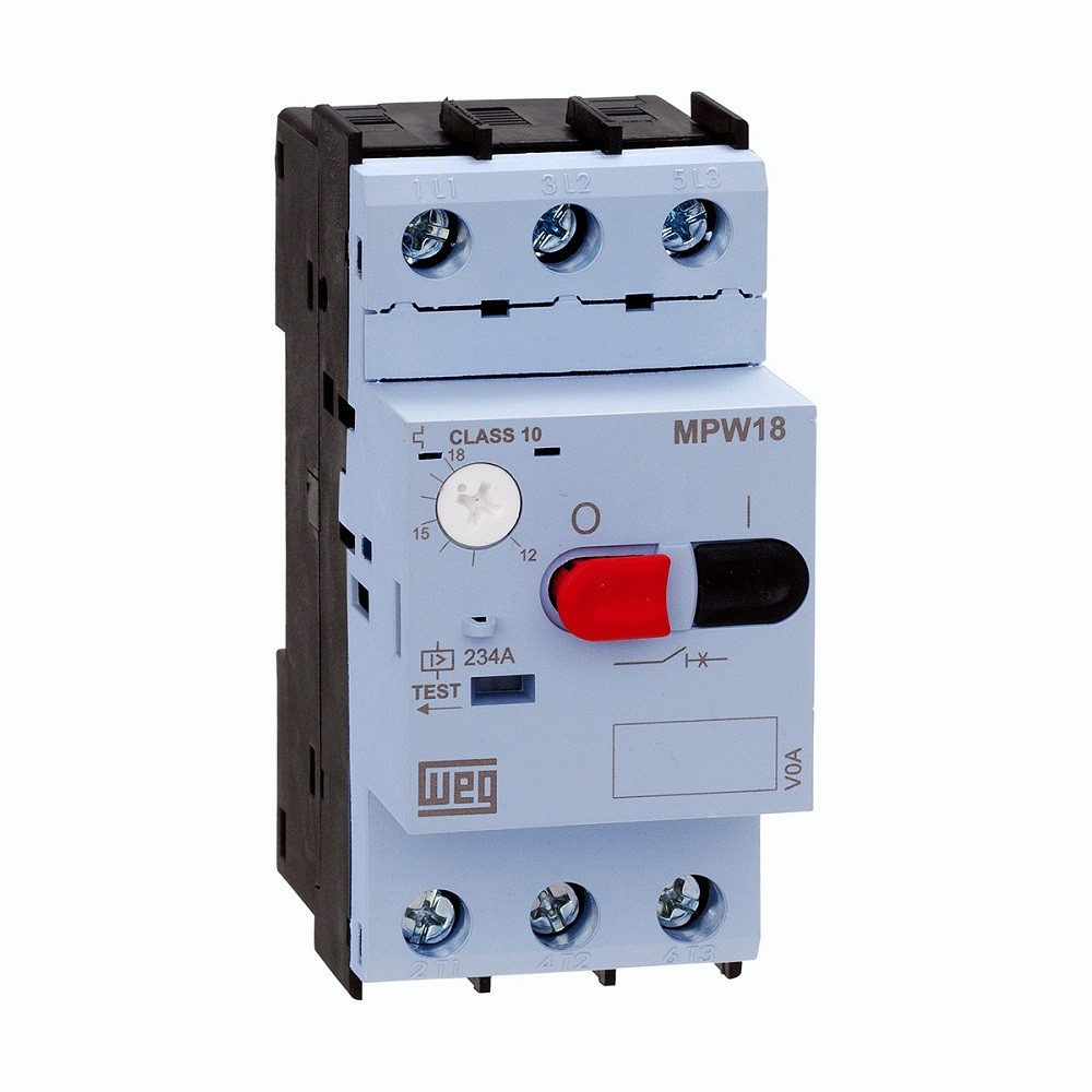Disjuntor motor MPW18 Ajuste 1,6-2,5A WEG