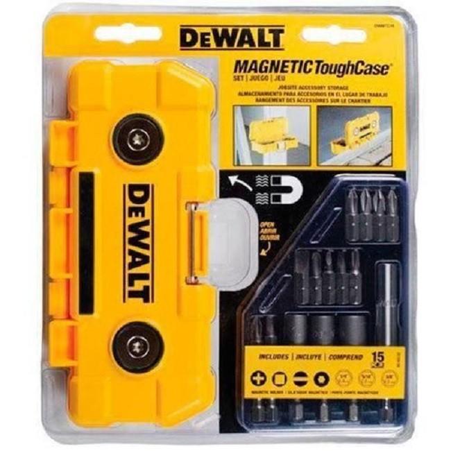 Jogo Bits 15 Peças com Maleta Magnética DWMTC15 Dewalt