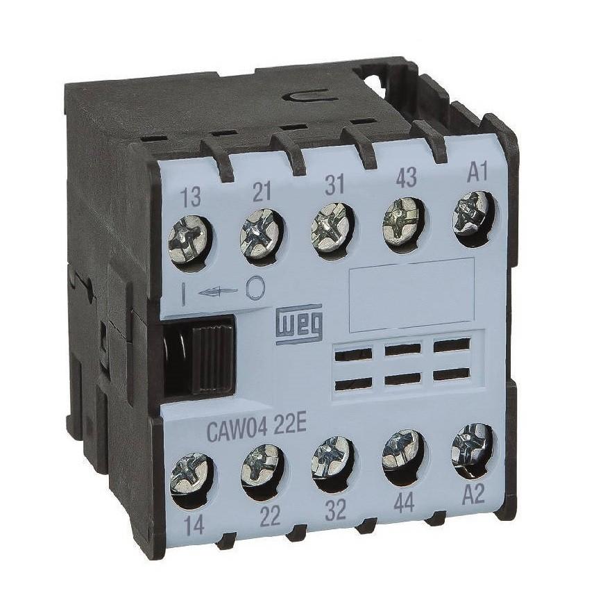 Minicontator Auxiliar CAW04 6A 3NA+1NF 24Vca WEG