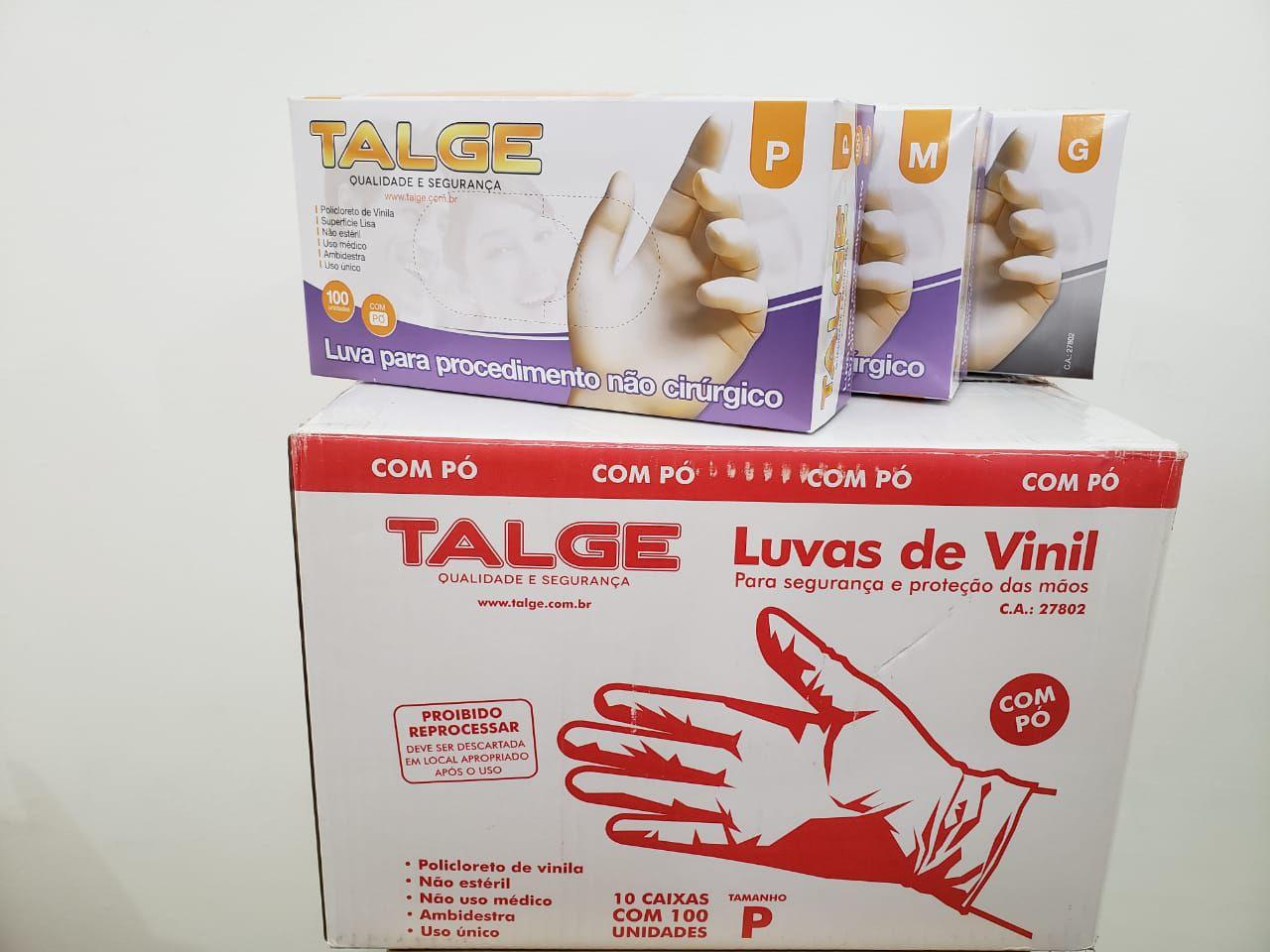 Luva de Vinil - Com Po - Caixa c/ 10 caixinhas -  Talge