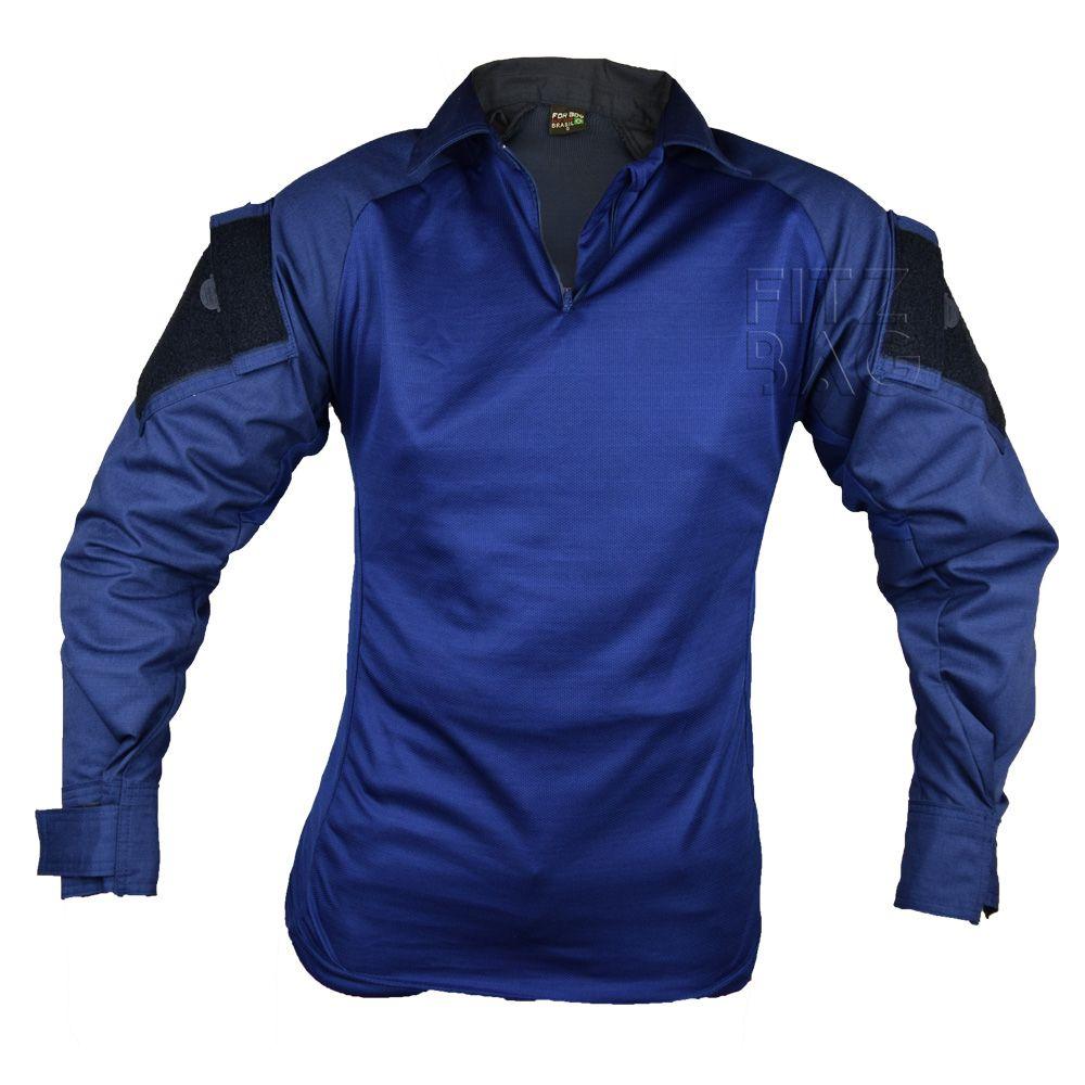 Camisa Tática Shirt Paintball Airsoft Dri Fit Azul RipStop - Fitz Bag 6e8c05d42e1