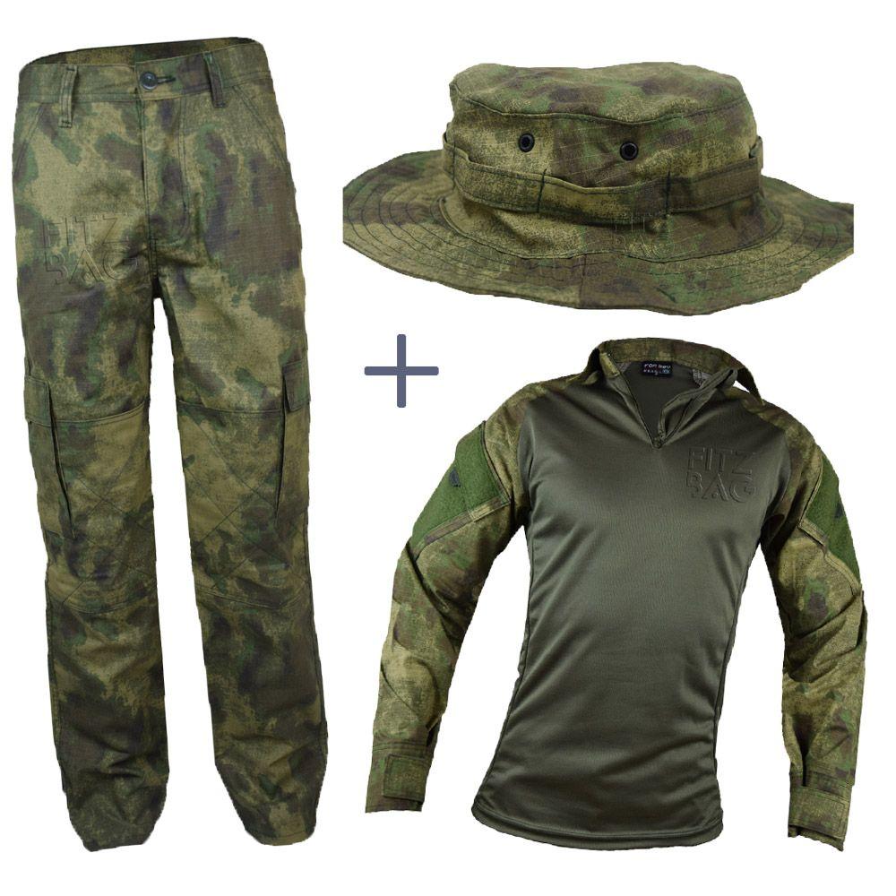 Farda Atacs Tática Militar Reforçada + Chapéu Boonie - Fitz Bag 113e9c26664