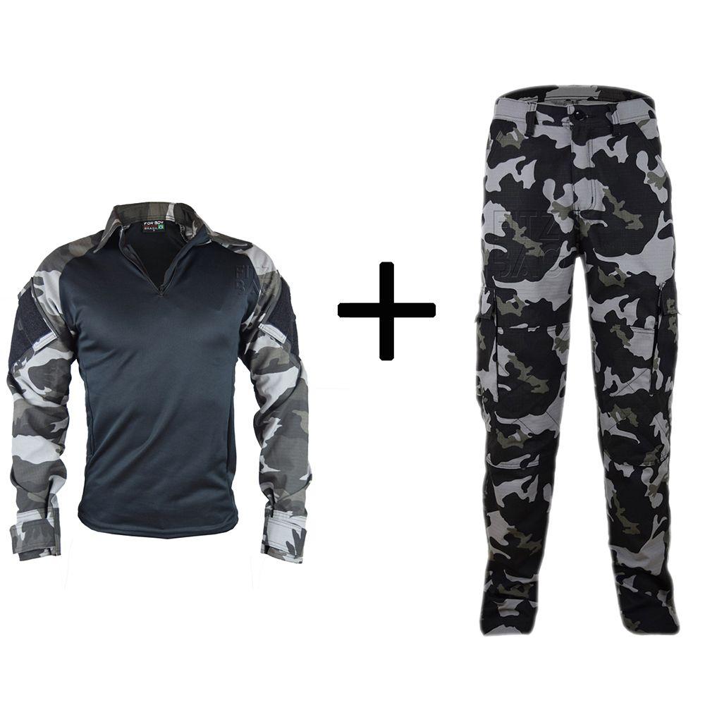 Farda Camuflada e Lisa Tática Combat Shirt Reforçada Militar - Fitz Bag 1e759b08c43