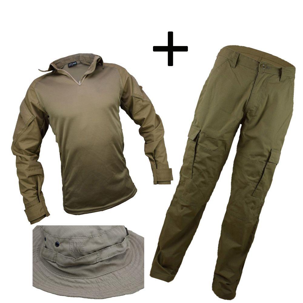 Farda Caqui Tática Militar Reforçada + Chapéu Hat - Fitz Bag 6f4135ffbae