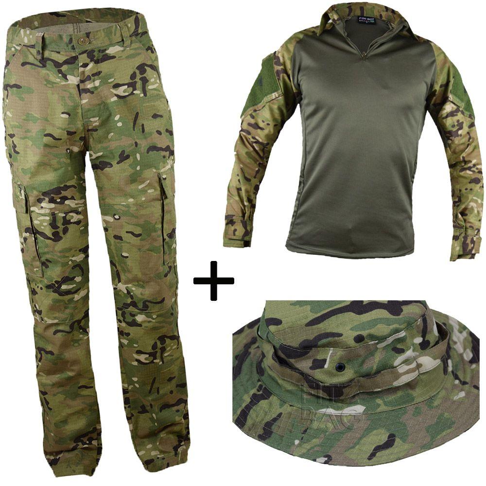 Farda Multicam Tática Militar Reforçada + Chapéu Hat - Fitz Bag 5fd7d5df8bf