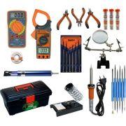 RL007 Kit de Eletrônica - Multimetro, alicate, ferro de solda,...