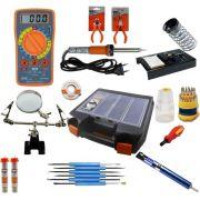 RL001 - Kit Ferramentas Para Eletrônica Solda, Multímetro, Lupa, Alicates, malha dessoldadora (Completo)