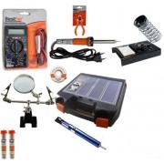RL003 - Kit Ferramentas Para Eletrônica Solda, Multímetro, Lupa, Alicate, Malha Dessoldadora, ferro de solda