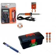 RL005 - Kit Ferramentas Para Eletrônica Solda, Multímetro, Alicate, malha dessoldadora
