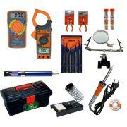 RL008 - Kit de Ferramentas para Eletrônica com Multímetro, Alicate Amperímetro, ferro de solda, lupa, ....