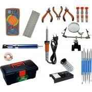 RL009 - Kit de Ferramentas para Eletrônica com Multímetro, Proto Board, ferro de solda, lupa, ....