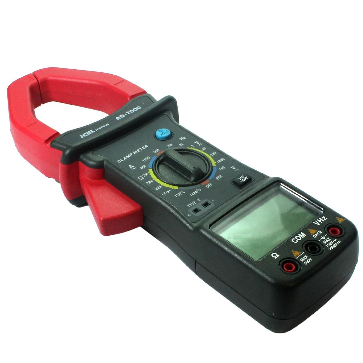 AD7000 - Alicate Digital Icel Tensão DC: 1.000V AC: 750V Corrente AC: 1.000A  - Rio Link