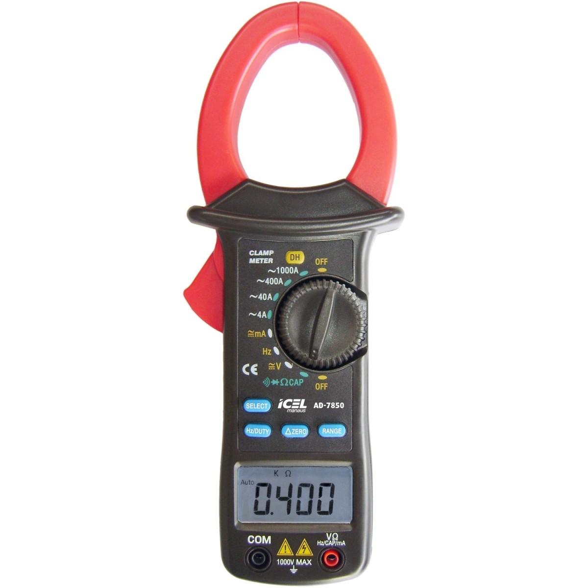 AD7850 - Alicate Digital Icel AC: 1.000A Tensão DC 1.000 AC: 700V