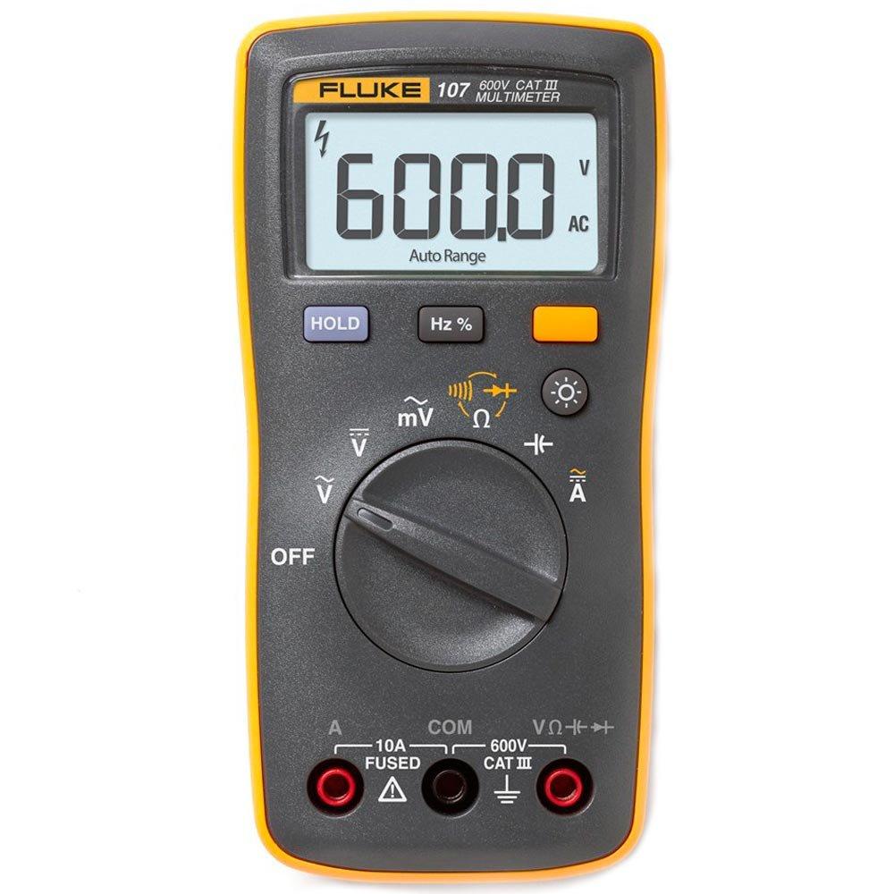 Fluke 107 - Multímetro Digital Tensão AC/DC: 600V resistência, continuidade e capacitância.   - Rio Link