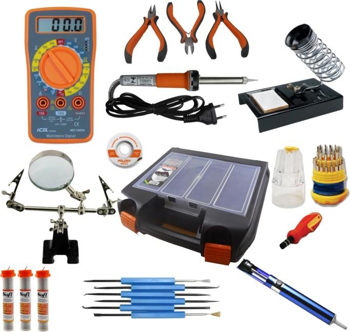 RL001 - Kit Ferramentas Para Eletrônica Solda, Multímetro, Lupa, Alicates, malha dessoldadora (Completo)  - Rio Link