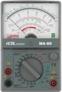 MA60 - Multímetro Analógico ICEL Tensão AC/DC: 1.000V Corrente DC: 10A RESISTÊNCIA: 200MOHM  - Rio Link
