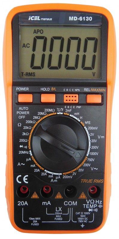 MD6130 - Multímetro Digital Icel True RMS Tensão DC: 1.000V Capacitância e Indultância Corrente DC: 20A  - Rio Link