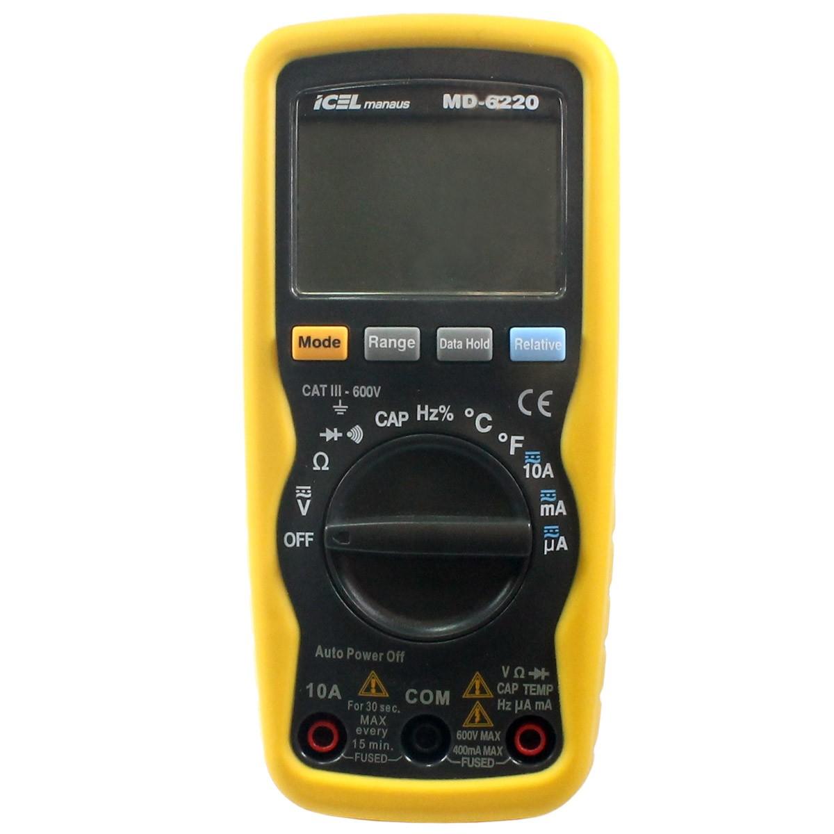 MD6220 - Multímetro Digital Icel Tensão DC/AC: 600V Resistência: 40MOHM, Escala Automática  - Rio Link