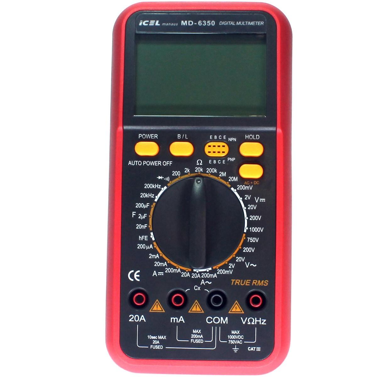 MD6350 - Multímetro digital ICEL True RMS DC: 1.000V Freqüência, Capacitância e Resistência.  - Rio Link