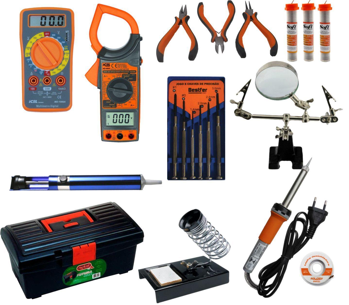 RL008 - Kit de Ferramentas para Eletrônica com Multímetro, Alicate Amperímetro, ferro de solda, lupa, ....  - Rio Link