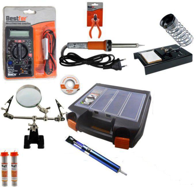 RL003 - Kit Ferramentas Para Eletrônica Solda, Multímetro, Lupa, Alicate, Malha Dessoldadora, ferro de solda  - Rio Link
