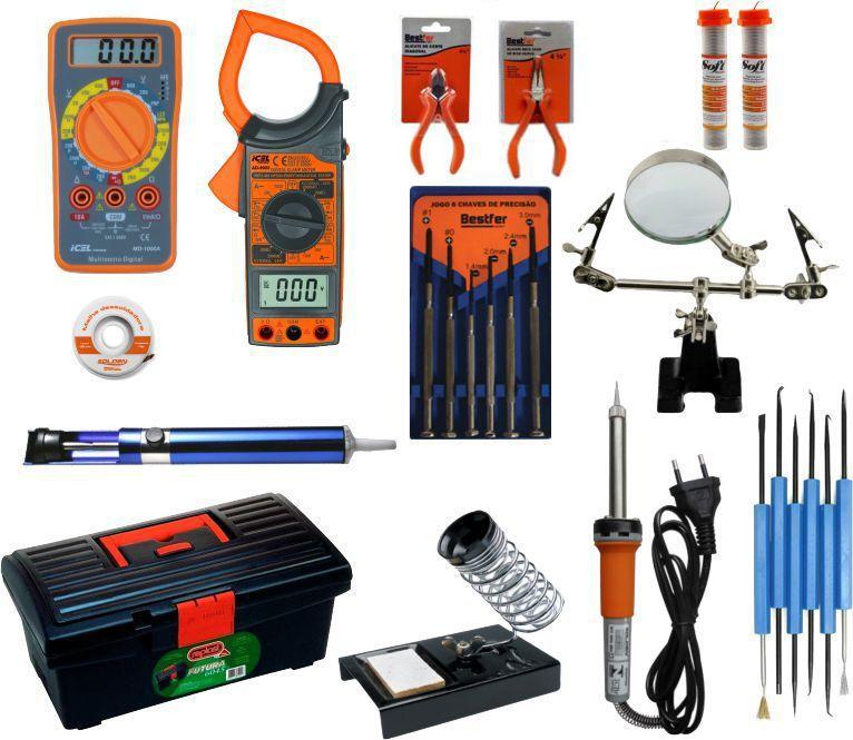 RL007 Kit de Eletrônica - Multimetro, alicate, ferro de solda,...  - Rio Link
