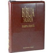 BÍBLIA SAGRADA LETRA EXTRA GIGANTE, EDIÇÃO COM LETRAS VERMELHAS COM HARPA CRISTÃ MARROM COM ZIPER