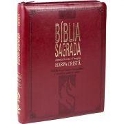 BÍBLIA SAGRADA LETRA EXTRA GIGANTE, EDIÇÃO COM LETRAS VERMELHAS COM HARPA CRISTÃ VINHO COM ZIPER