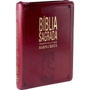 BÍBLIA SAGRADA LETRA GRANDE COM HARPA CRISTÃ VINHO ZIPER