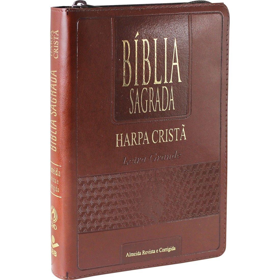 BÍBLIA SAGRADA LETRA GRANDE COM HARPA CRISTÃ MARROM ZIPER