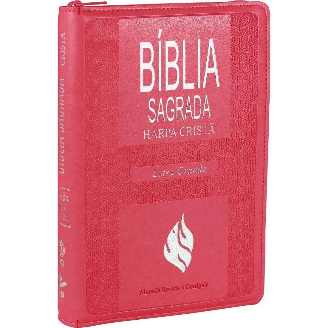 BÍBLIA SAGRADA LETRA GRANDE COM HARPA CRISTÃ PINK ZIPER