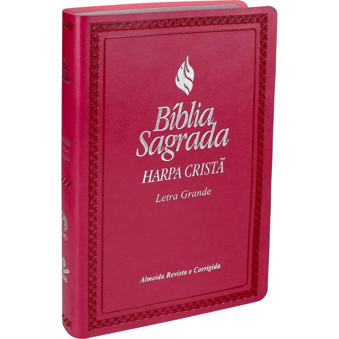BÍBLIA SAGRADA LETRA GRANDE COM HARPA CRISTÃ  PINK FRANKFURT