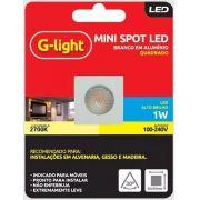 Mini Spot Led Quadrado 1w 2700k Luz Amarela - G-light