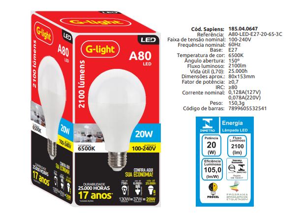 Lâmpada A80 LED 20W 6500K AUTOVOLT