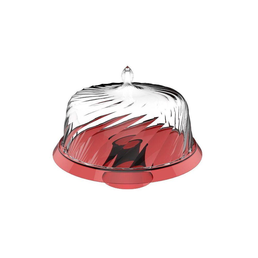 Porta Bolo Boleira 30 Cm Vermelho Cupúla Transparente Crippa