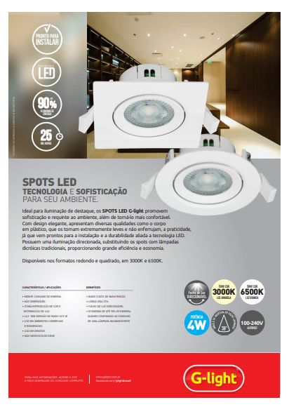 Spot Led Direcionável Redondo 4w 6500k - G-light (à vista)