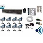 Kit Cftv 8 Câmeras Infra + Ir-cut, HD 1tb, Dvr 16 Canais Com 200m cabo.