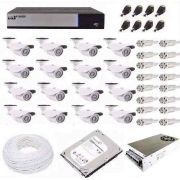 Kit Cftv Luxvision 16 Cameras Infra Ahd 1.3mp Hd + Audio